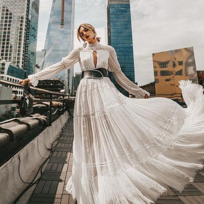 белое платья в пол