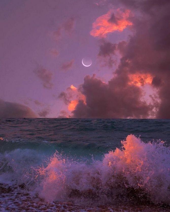 ночной морской прибой