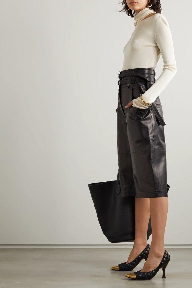 кожаные бермуды шорты женские 2020
