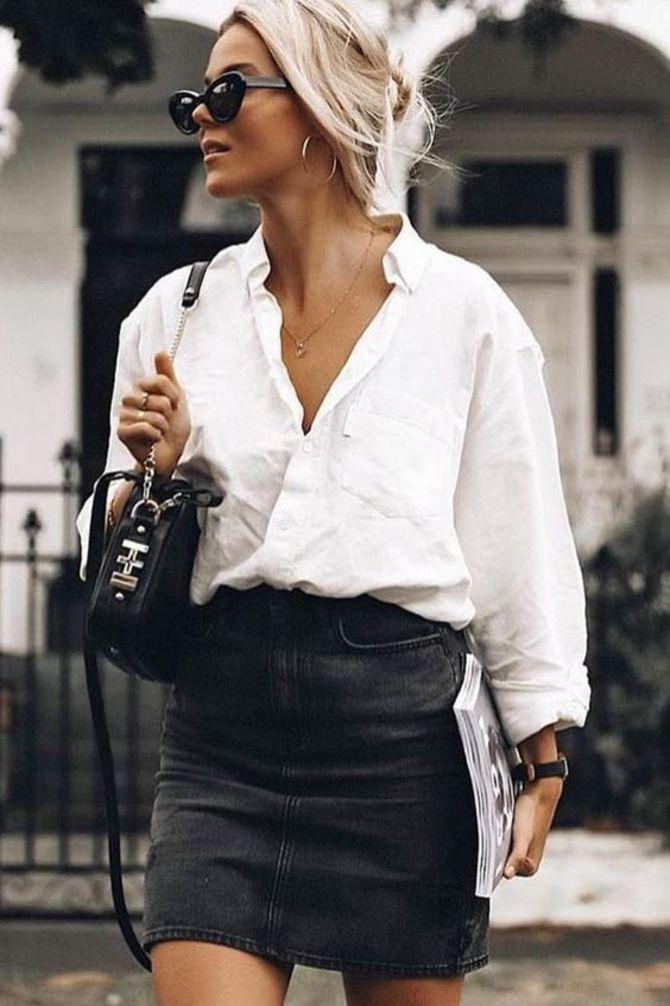 С чем носить короткую юбку: модные образы 2021-2022 7