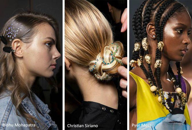 Жемчуг и кристаллы в волосах