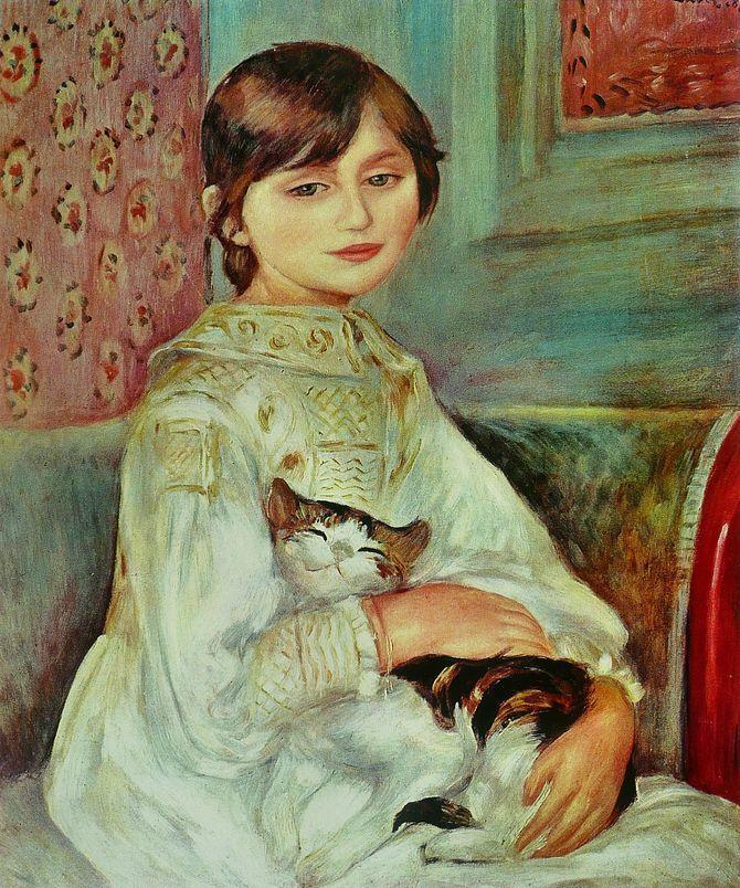 Жюли Мане с кошкой