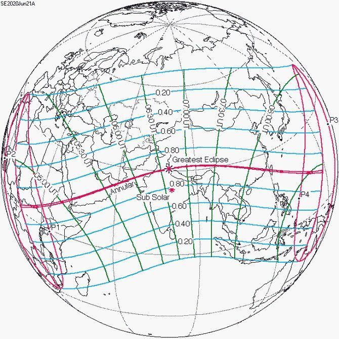 Кольцеобразное затмение Солнца 21 июня 2020 года