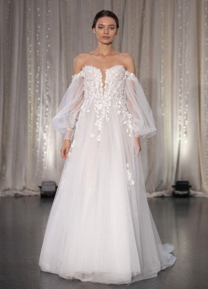 свадебные платья с пышными рукавами
