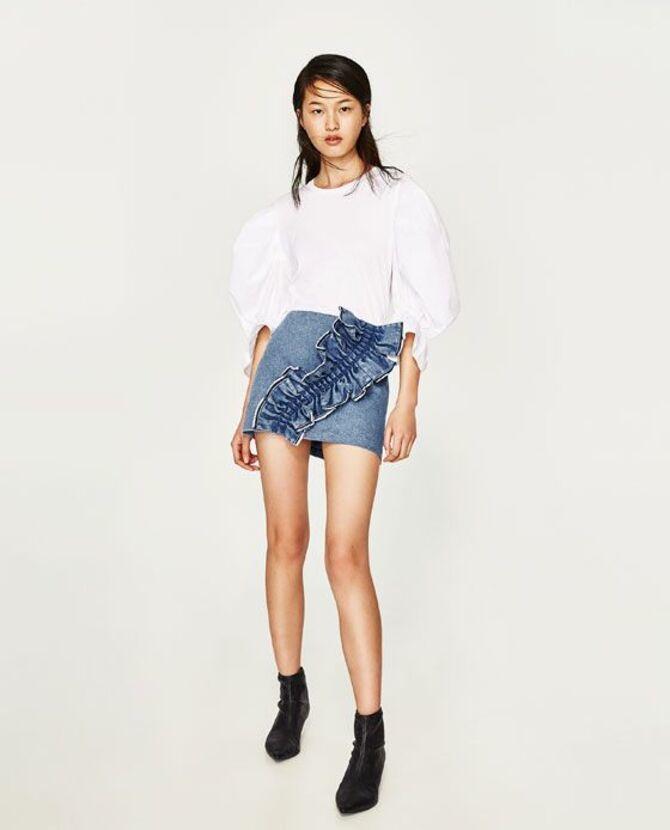 Модные мини-юбки с оборками 2021-2022 11