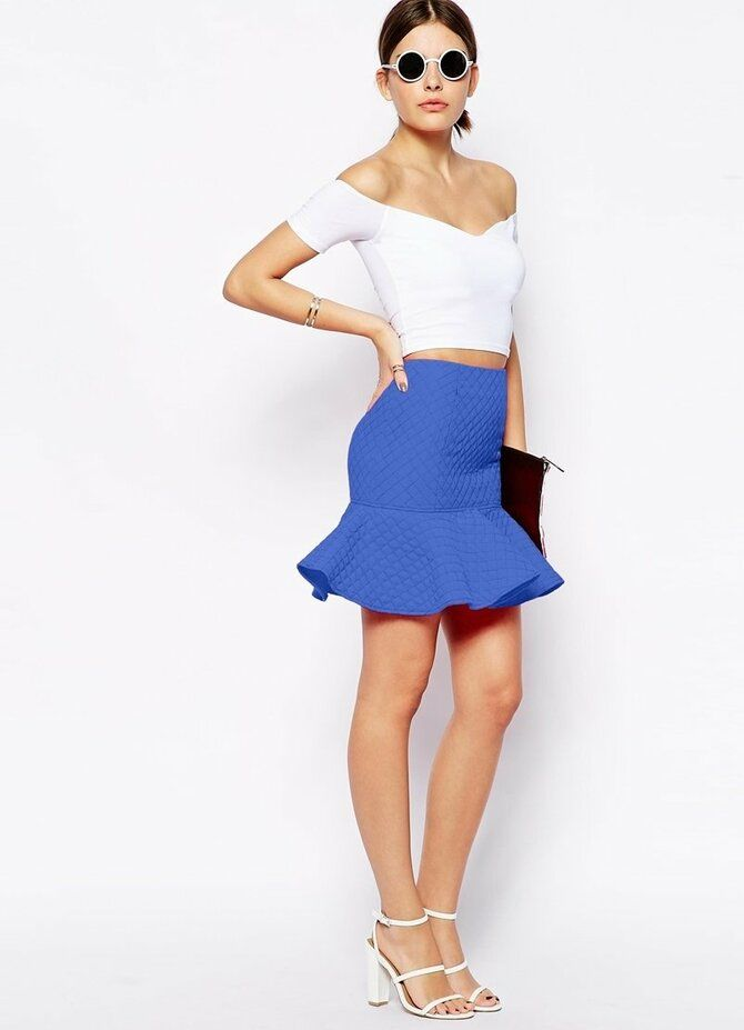 Модные мини-юбки с оборками 2021-2022 27