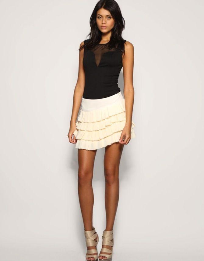 Модные мини-юбки с оборками 2020-2021 28