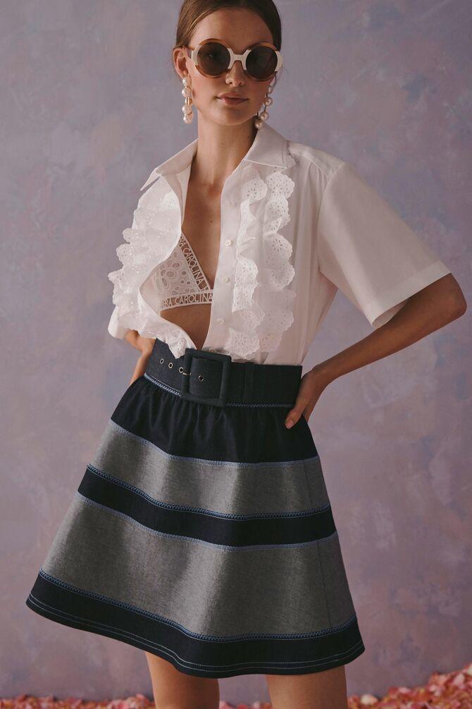 Модные мини-юбки с оборками 2021-2022 5