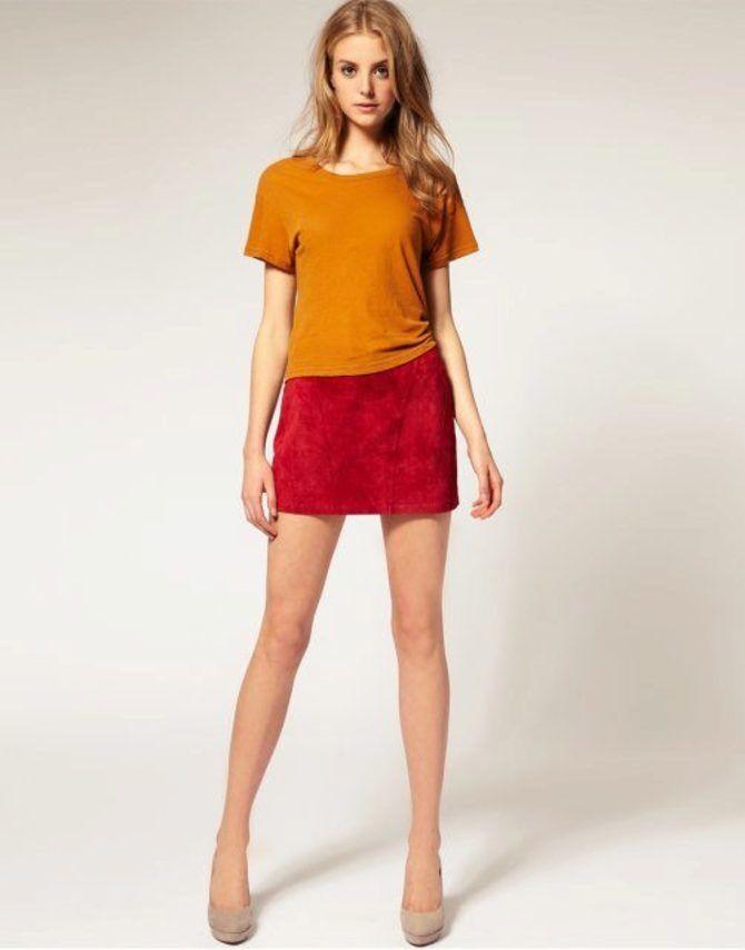 Модные замшевые мини-юбки 2021-2022 33