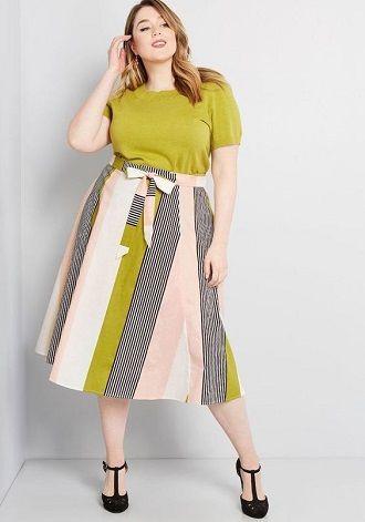 Без ограничений: модные летние юбки для полных женщин 2020 24