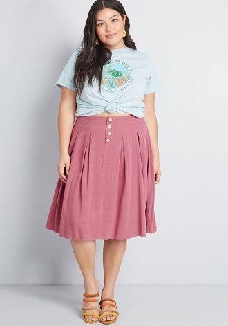 Без ограничений: модные летние юбки для полных женщин 2020 27