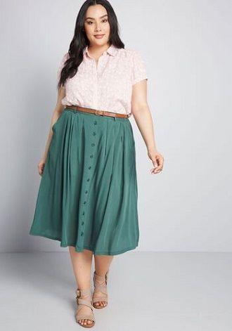 Без ограничений: модные летние юбки для полных женщин 2020 26