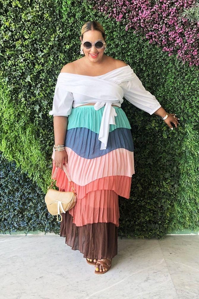 Без ограничений: модные летние юбки для полных женщин 2020 9