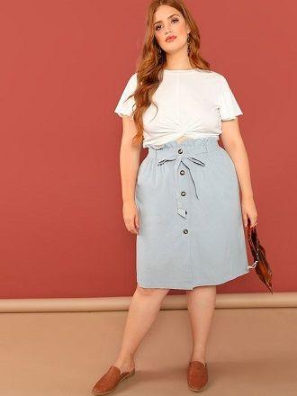 Без ограничений: модные летние юбки для полных женщин 2020 32