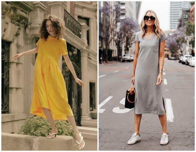 Повседневный наряд: лучшие платья-футболки 2020-2021 года 29