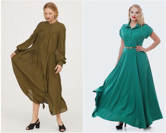 Широкие и роскошные: самые модные расклешенные платья 2021-2022 года 34