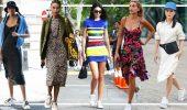 Платье с кроссовками: модные луки 2021-2022