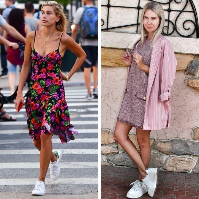 Платье с кроссовками: модные луки 2021-2022 22