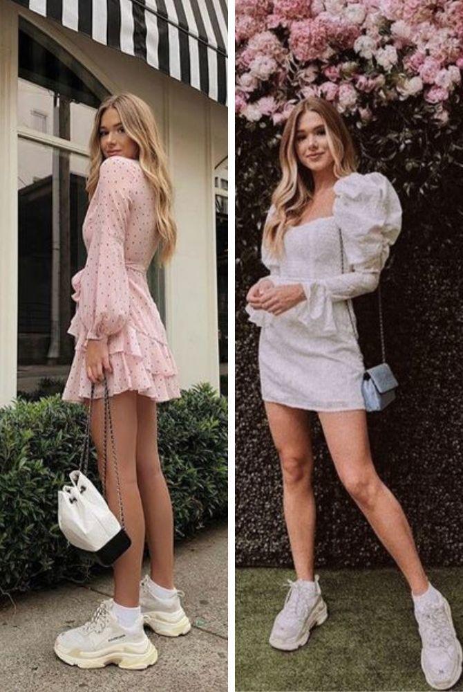 Платье с кроссовками: модные луки 2021-2022 23