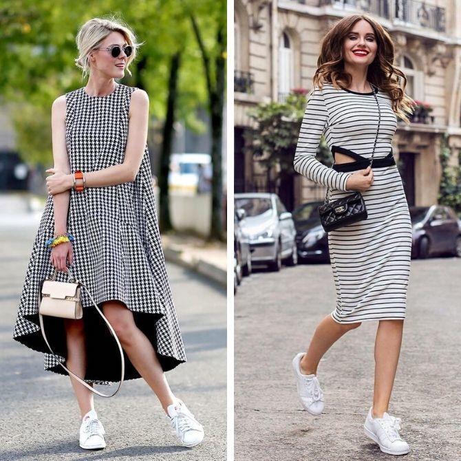 Платье с кроссовками: модные луки 2021-2022 24