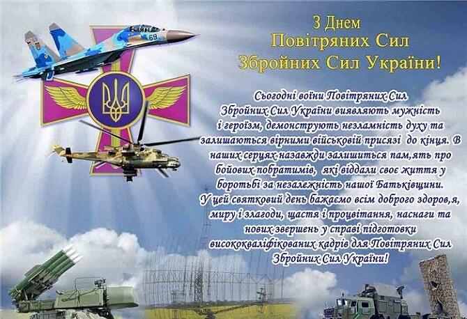 Привітання з днем Повітряних Сил України 2020