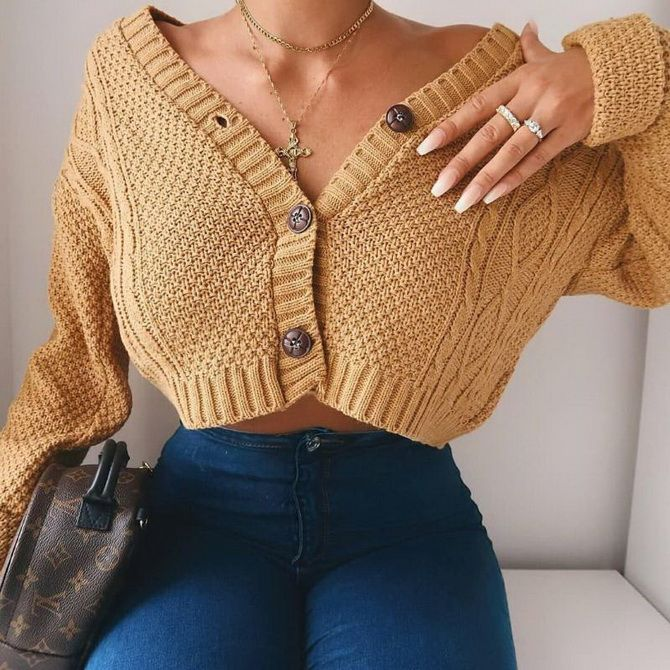Короткий кардиган – модный атрибут осеннего гардероба 2021-2022 12