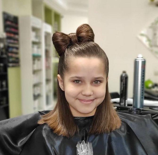 Зачіска з 1 бантом для дівчинки: стильні ідеї на 1 вересня 40
