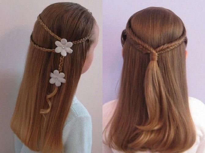 Красивые прически на 1 сентября с распущенными волосами для девочек 16