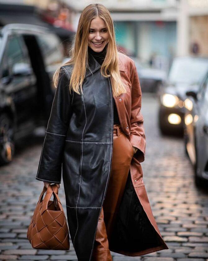 Шкіряні пальта 2020-2021: модні осінні аутфіти 23