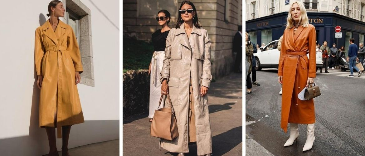 Leather raincoats: choosing a coat for fall 2020-2021