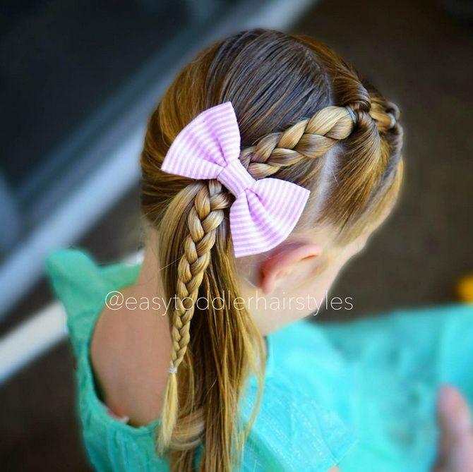 Прическа с 1 бантом для девочки: стильные идеи на 1 сентября 26