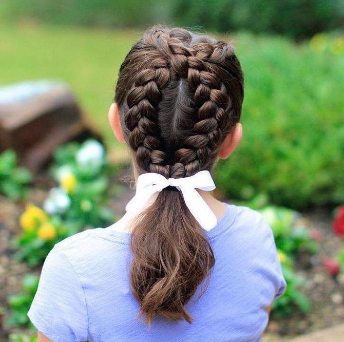 Прическа с 1 бантом для девочки: стильные идеи на 1 сентября 27