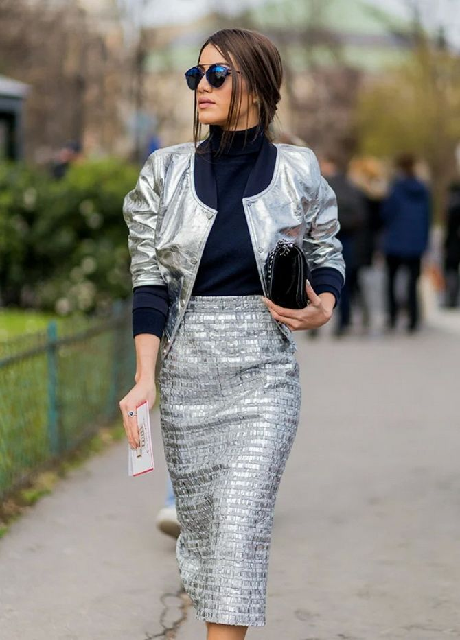 З чим носити сріблясту спідницю – актуальний тренд осені 1