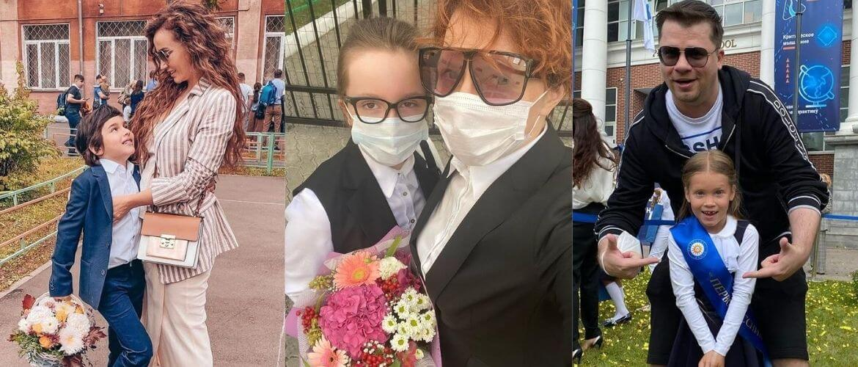 С цветами, без линейки и в масках – дети звезд пошли в школу 1 сентября