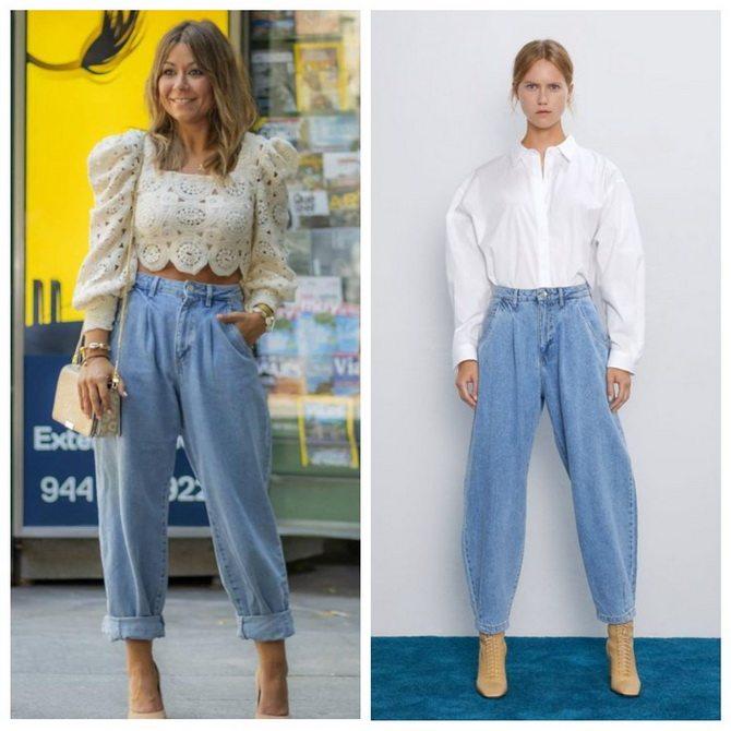 Идеи образов с голубыми джинсами, которые не выйдут из моды 7
