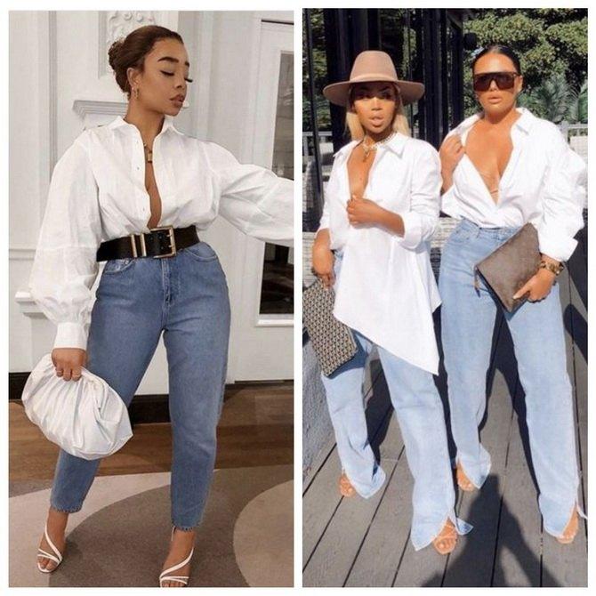 Идеи образов с голубыми джинсами, которые не выйдут из моды 5