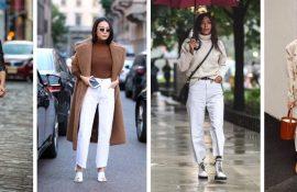 Як носити білі джинси: створюємо затишні осінні луки