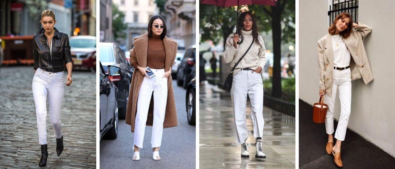 Как носить белые джинсы: создаем уютные осенние луки