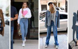 Идеи образов с голубыми джинсами, которые не выйдут из моды