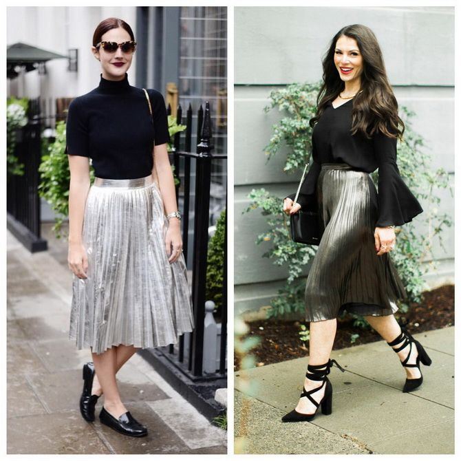 З чим носити сріблясту спідницю – актуальний тренд осені 15