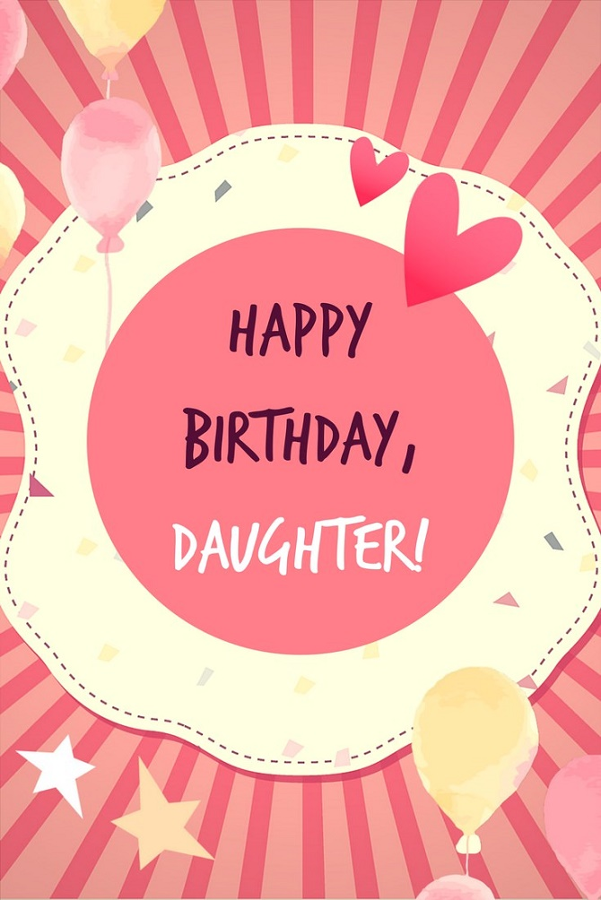 Touching Happy Birthday greetings to a daughter in verse and prose on cards 4