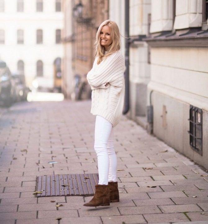 Как носить белые джинсы: создаем уютные осенние луки 13