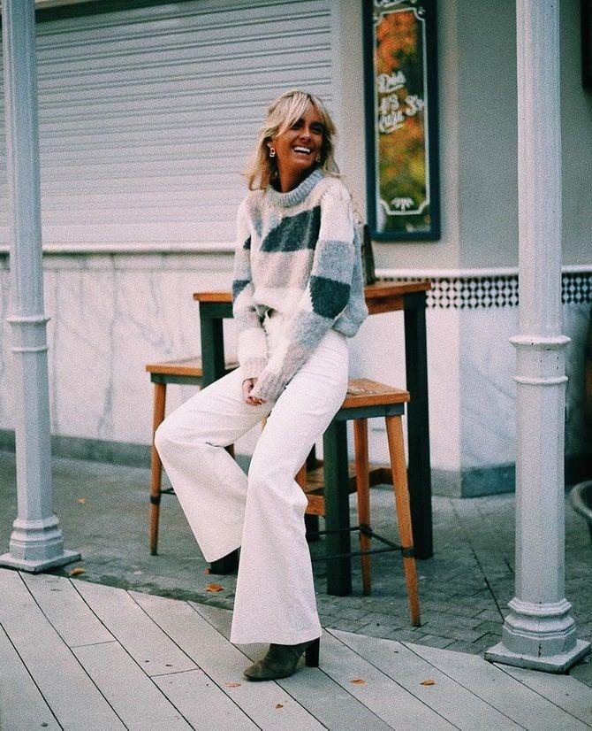 Как носить белые джинсы: создаем уютные осенние луки 14