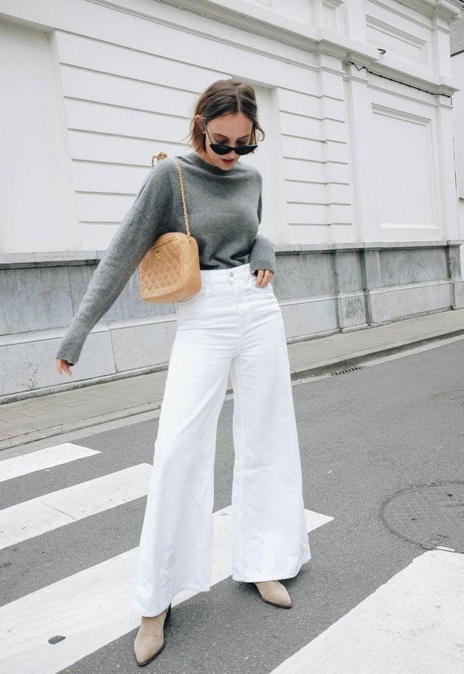 Как носить белые джинсы: создаем уютные осенние луки 16