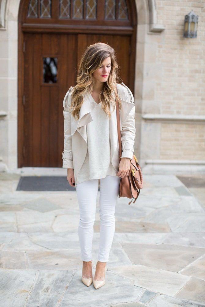 Как носить белые джинсы: создаем уютные осенние луки 28