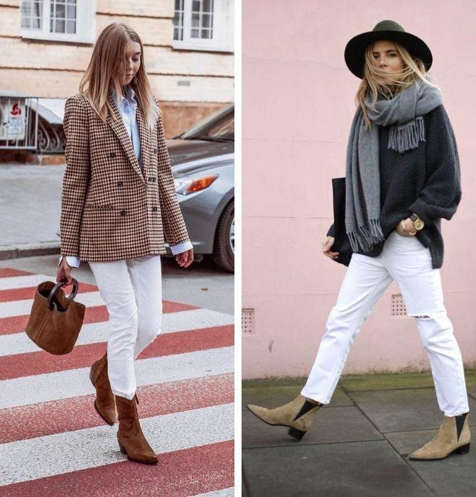 Как носить белые джинсы: создаем уютные осенние луки 33