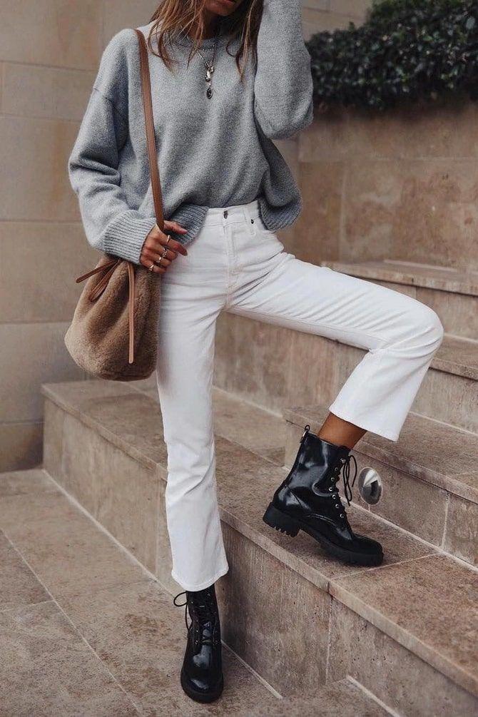 Как носить белые джинсы: создаем уютные осенние луки 12