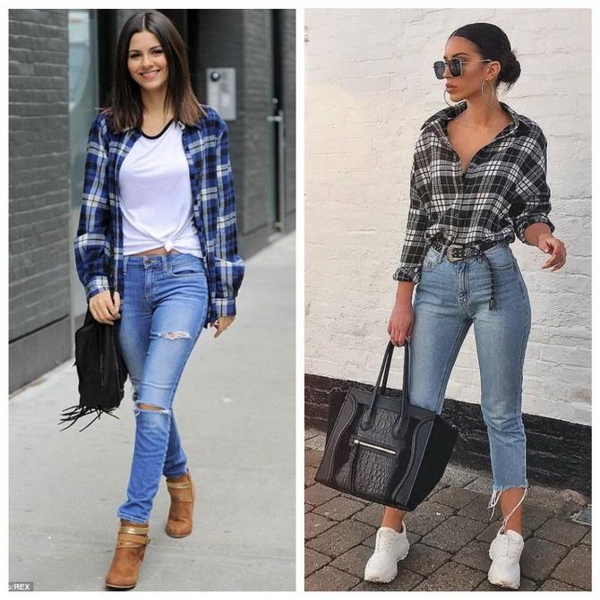 Идеи образов с голубыми джинсами, которые не выйдут из моды 3