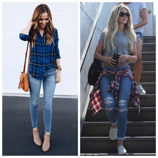 Идеи образов с голубыми джинсами, которые не выйдут из моды 4