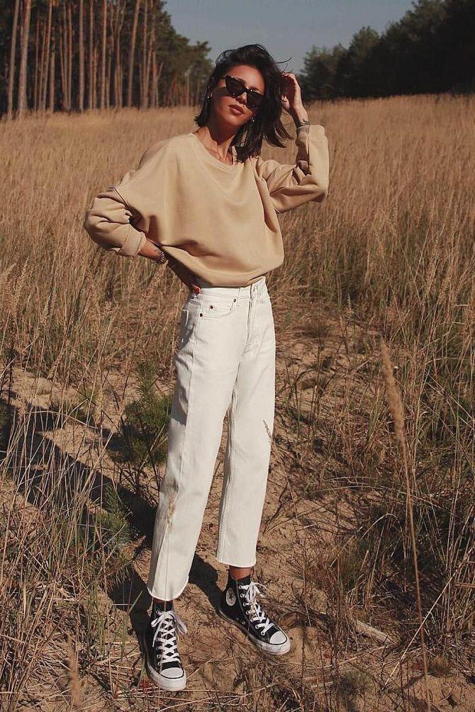 Как носить белые джинсы: создаем уютные осенние луки 32